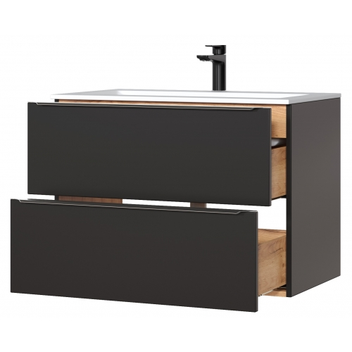 CAPPRI BLACK stiliaus vonios spintelė su praustuvu, pakabinama, juodos spalvos