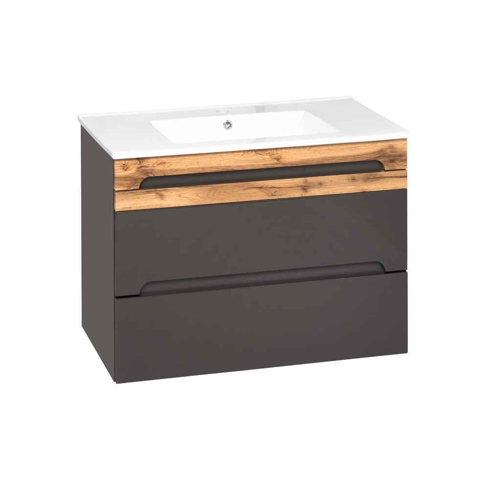 Prabangaus stiliaus vonios spintelė su praustuvu, su medienos imitacija, blizgi