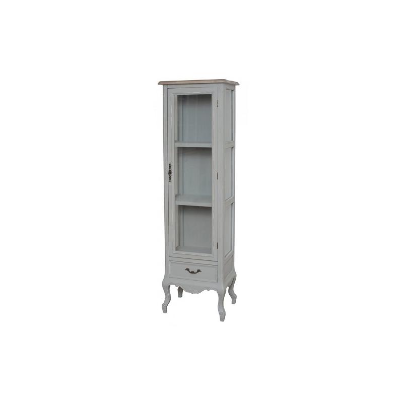 Vitrina CATANIA - provanso stiliaus šviesiai pilkos spalvos aukšta vitrina su skaidriu stiklu ir stalčiumi, ant kojelių