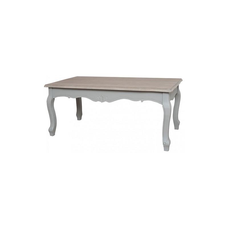Žurnalinis staliukas CATANIA - provanso stiliaus šviesiai pilkos spalvos staliukas prieškambariui, su banguotomis kojelėmis