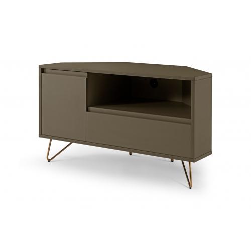 Skandinaviško stiliaus TV staliukas, kampinis, trijų skyrių
