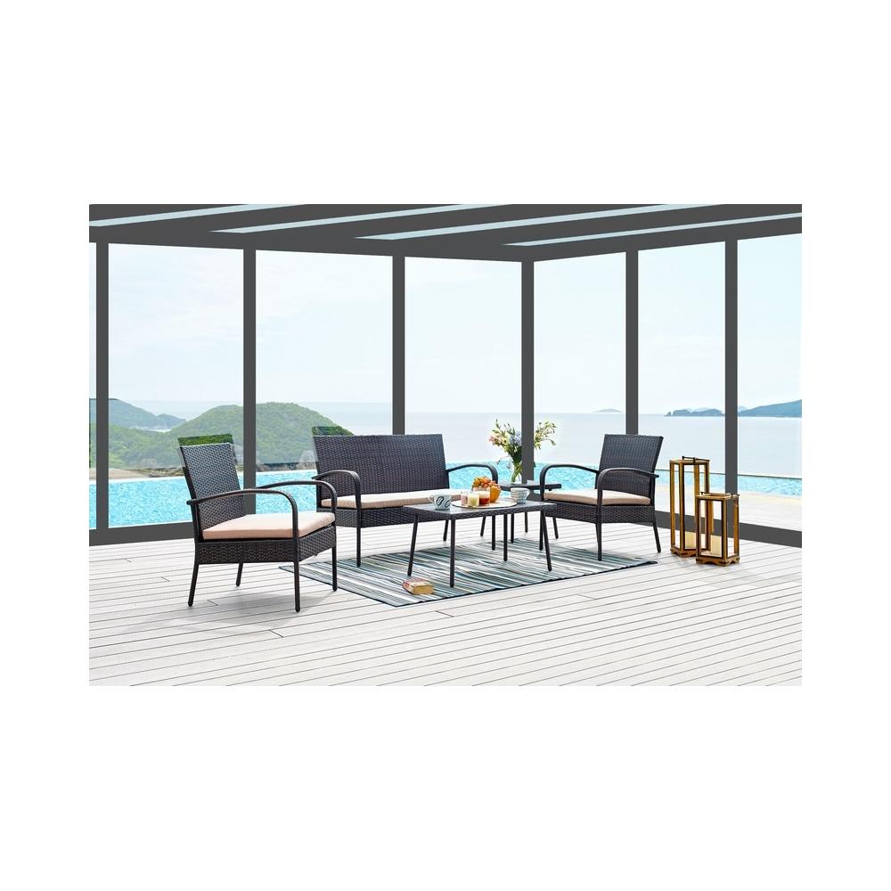 Modernaus dizaino lauko baldų komplektas, PE ratano, keturių dalių