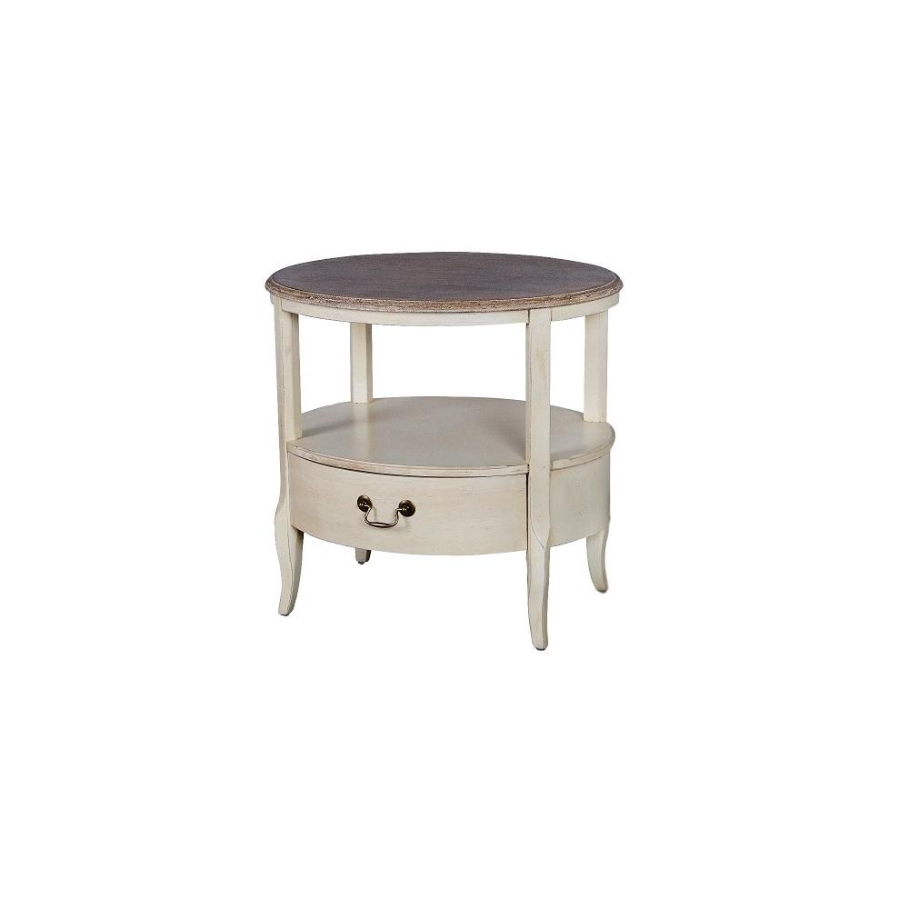 žurnalinis staliukas su stalčiumi, ant kojelių, baltos spalvos, kreminės spalvos