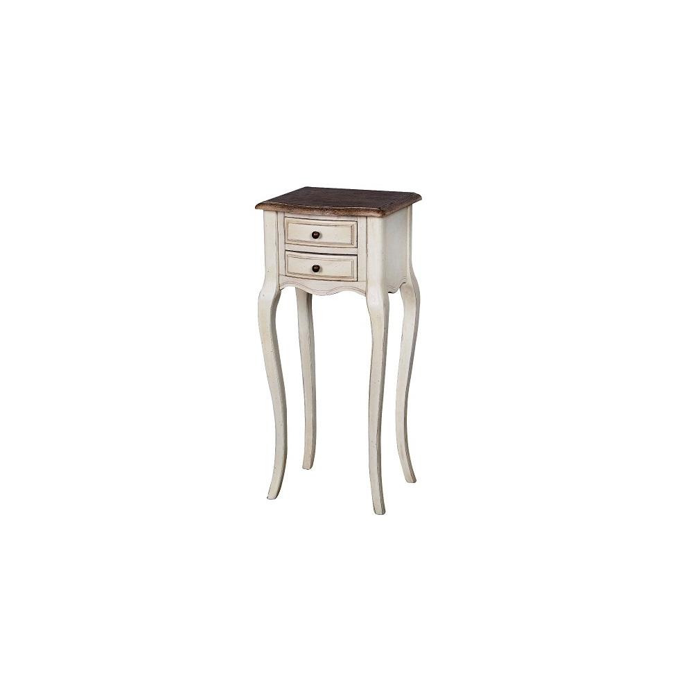 Naktinis staliukas 825 LIMENA - provanso stiliaus staliukas su 2 stalčiais, ant ilgų kojelių, šviesiai kreminės spalvos