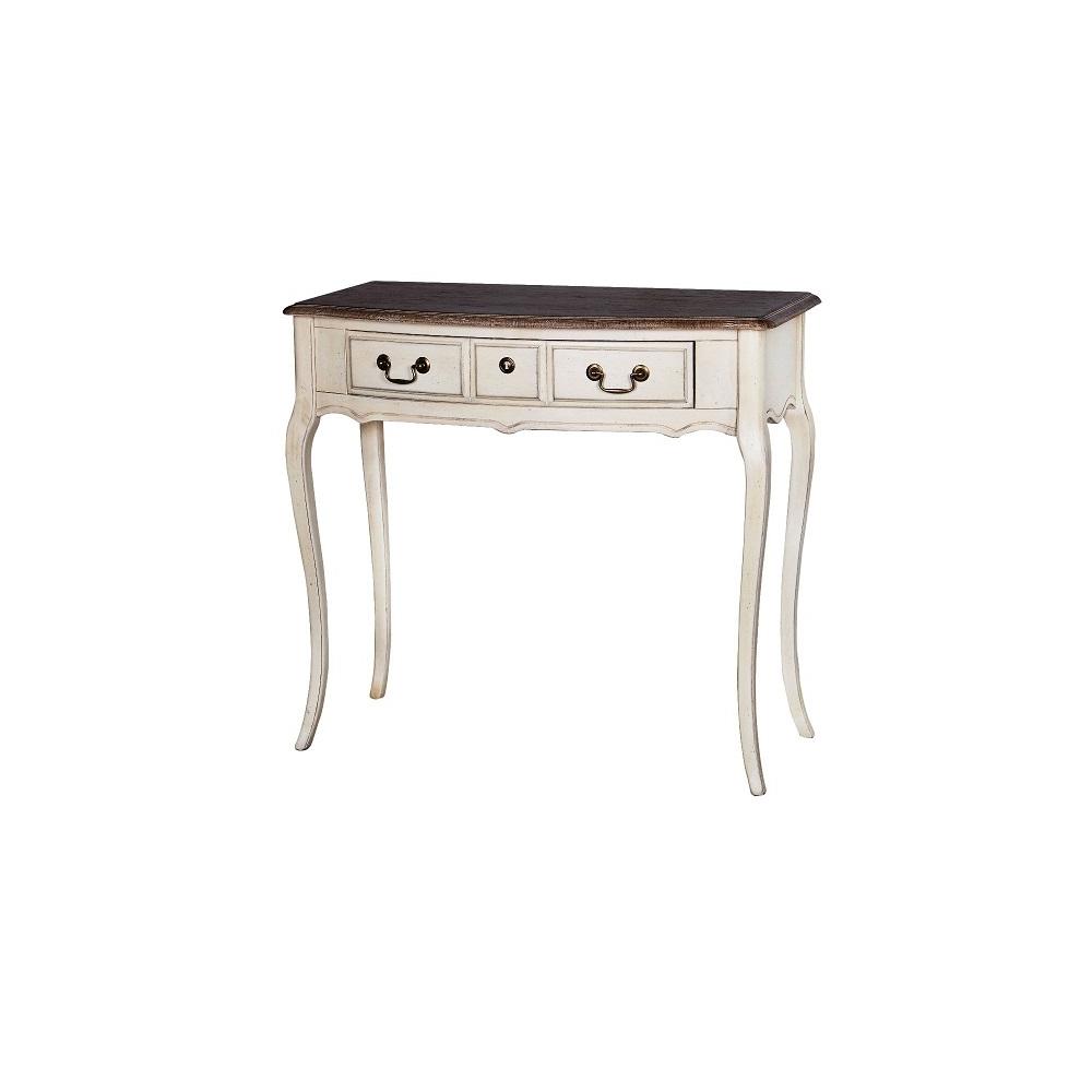 provanso stiliaus kosmetinis staliukas, su 3 stalčiais, šviesiai kreminės spalvos