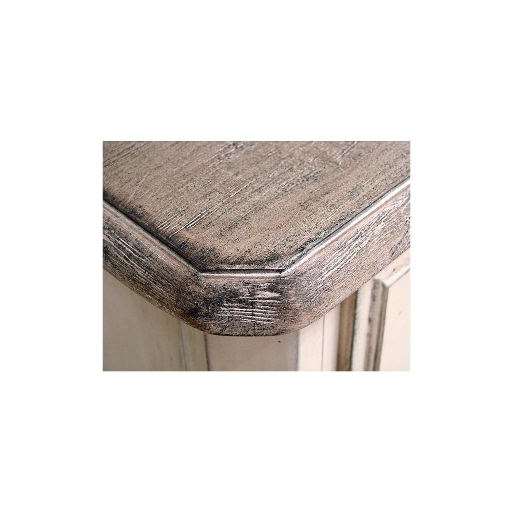 baltos spalvos komoda, su kojelėm, rudu mediniu stalviršiumi