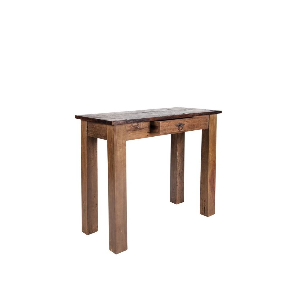 medinė konsolė, aukšta, rudu stalviršiumi