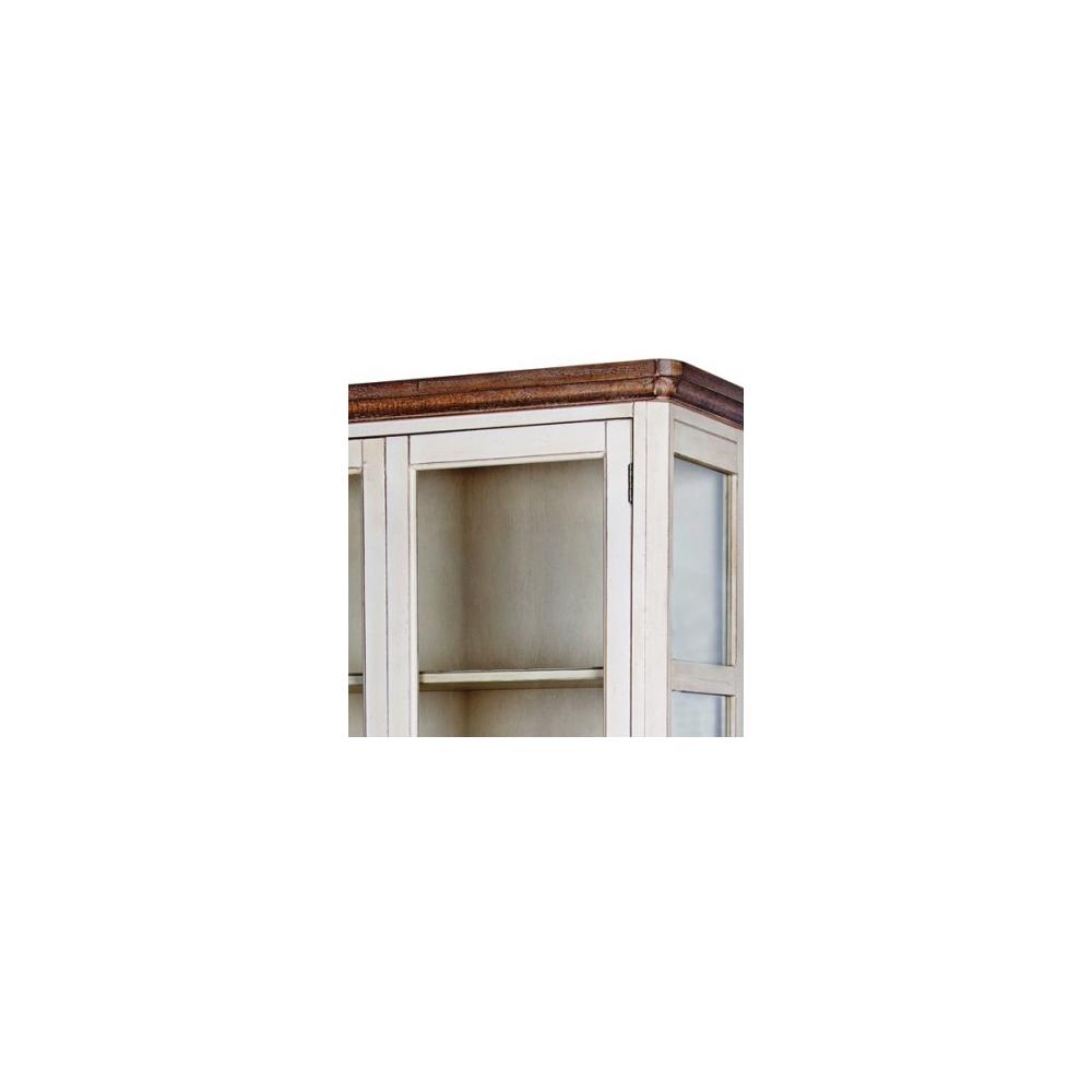 Plati vitrina 2779 LIMENA - provanso stiliaus ir sendinto rašto su 4 lentynomis ir 2 stalčiais. Įstiklinta.