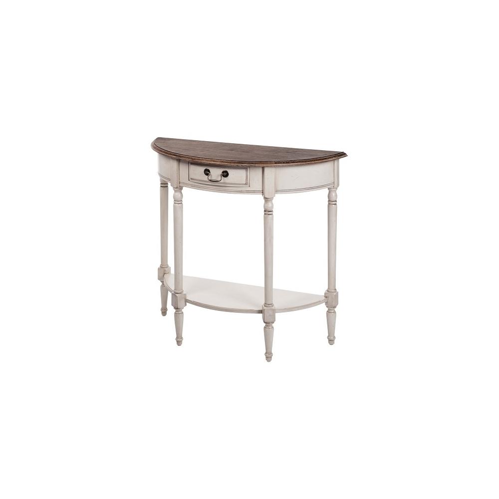 Konsolė 834 LIMENA - provanso stiliaus kosmetinis staliukas 83x36x77 cm. Su stalčiuku, pusapvalis, ant kojelių.