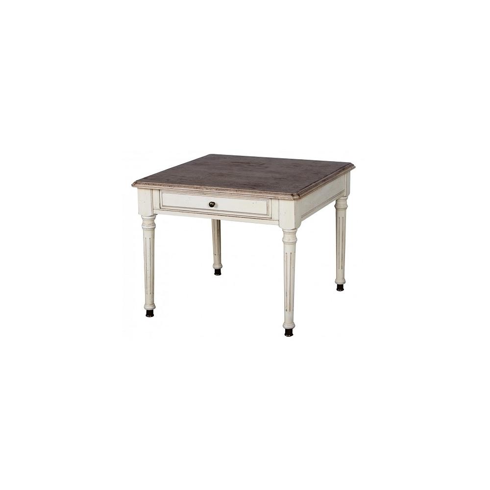 Staliukas 821 LIMENA - 60x60x48 cm provanso stiliaus stalas iš kaučiukmedžio. Su stalčiumi, ant kojelių. Tamsus stalviršis.