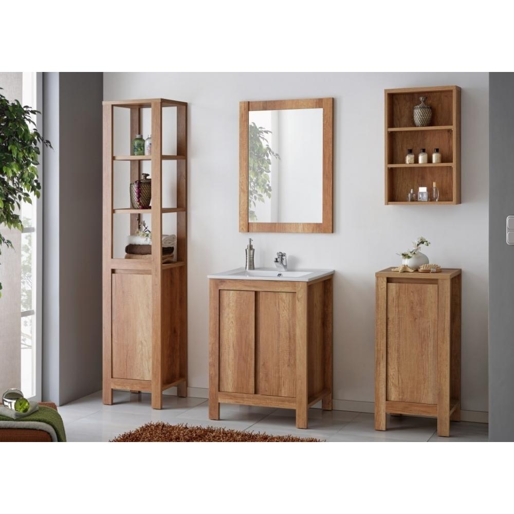 Klasikinio stiliaus vonios lentyna, sendinto ąžuolo spalvos, minimalistinė