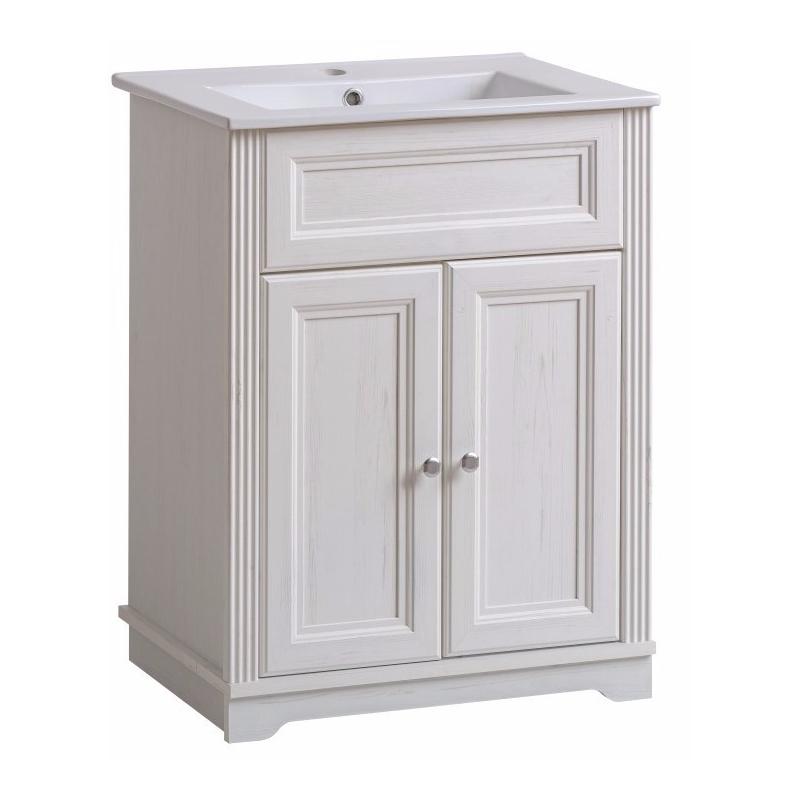 Klasikinio stiliaus vonios spintelė, žema, balintos pušies spalvos