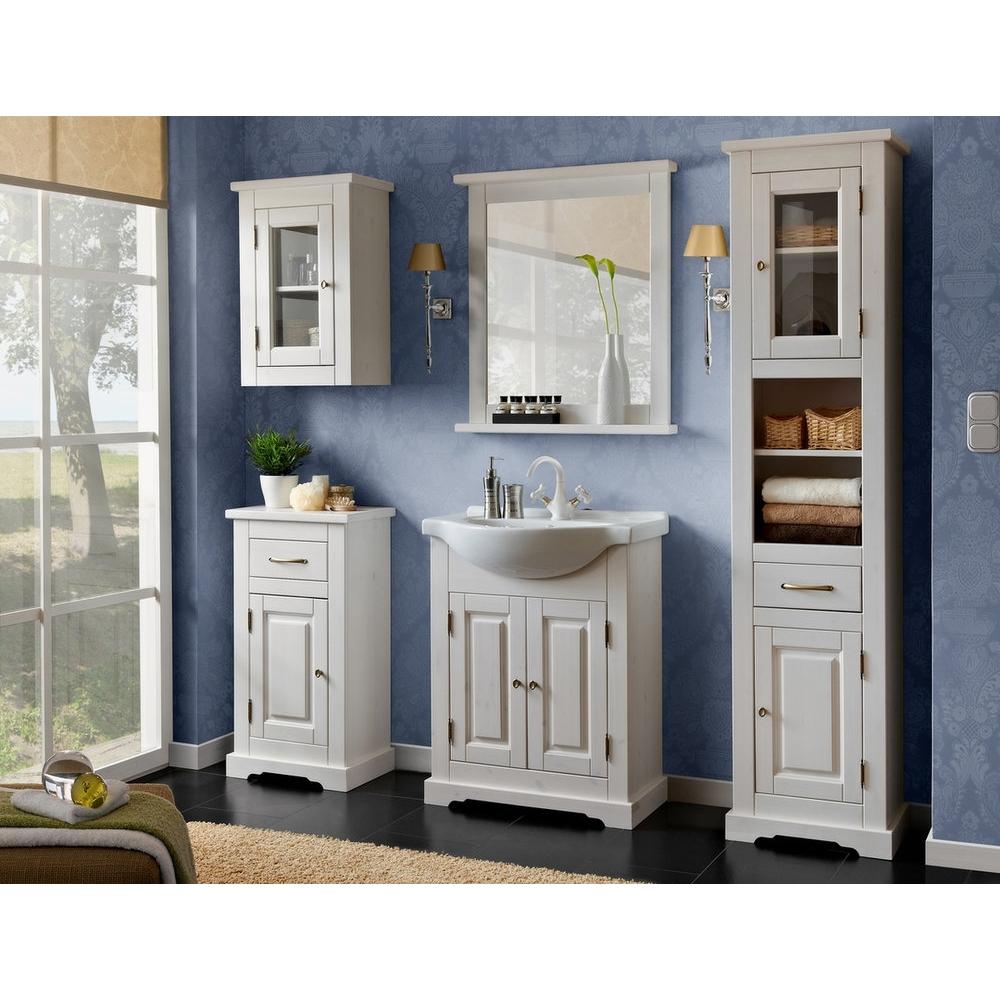 elegantiško dizaino vonios spintelė su čiaupu, medinė, balta
