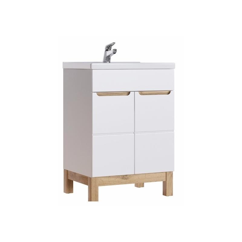 GOTLAND stiliaus vonios spintelė su praustuvu, žema, balta