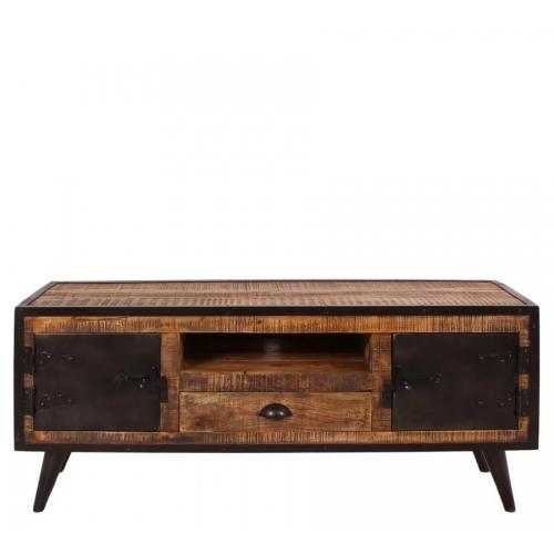 IRON stiliaus TV staliukas, natūralaus medžio, su metalinėmis durelėmis