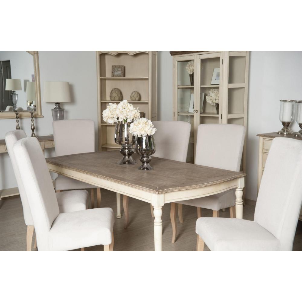 Žurnalinis staliukas 822 LIMENA - provanso stiliaus stalas su tamsiu stalviršiumi - 110x60x48 cm