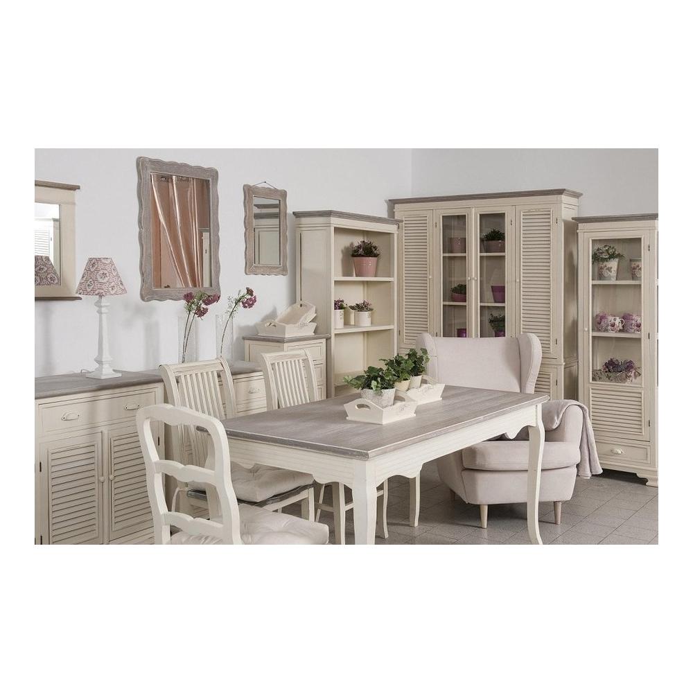 baltos spalvos Žurnalinis staliukas, klasikinio stiliaus, rudu stalviršiumi