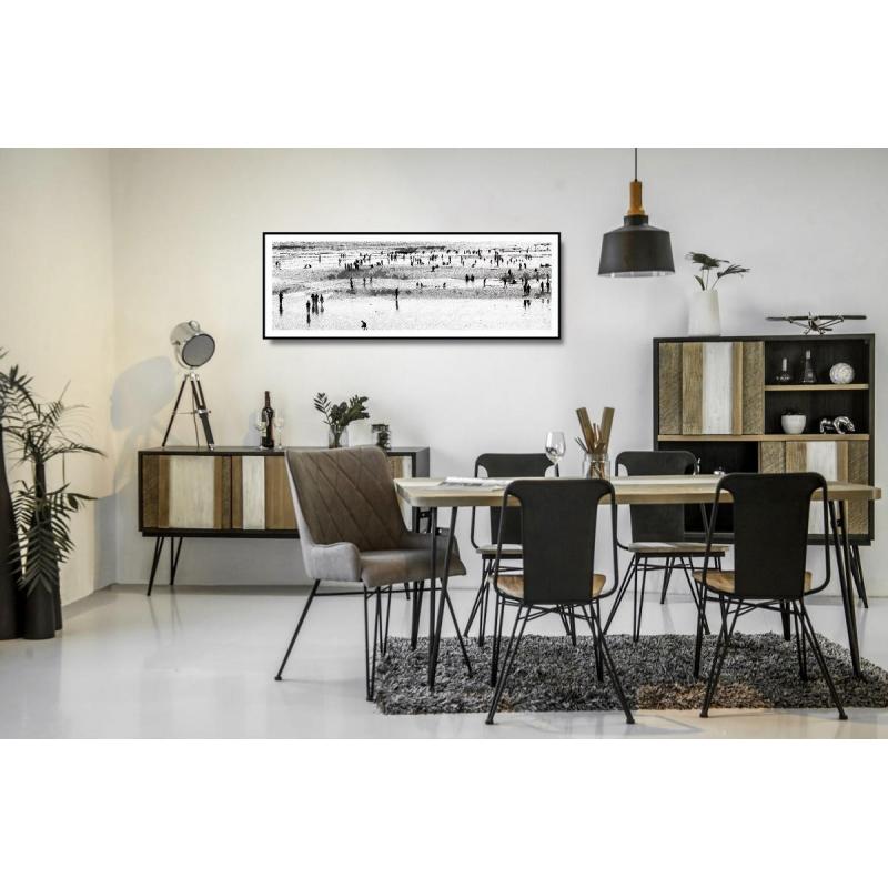 Medinė, juoda, minimalistinė komoda