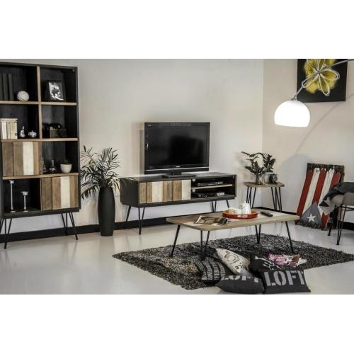 Juodas TV staliukas, modernus, metalinėmis kojomis