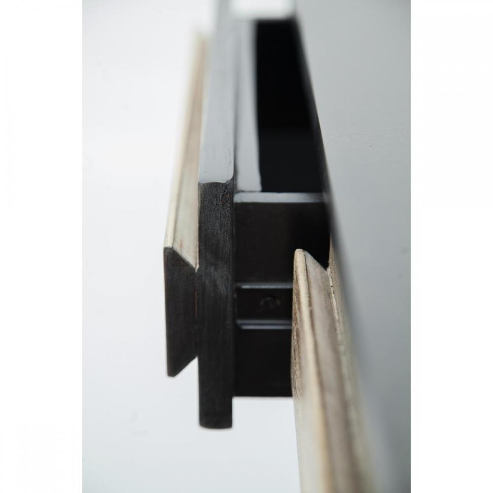 Medinis, juodas, minimalistinis kosmetinis staliukas