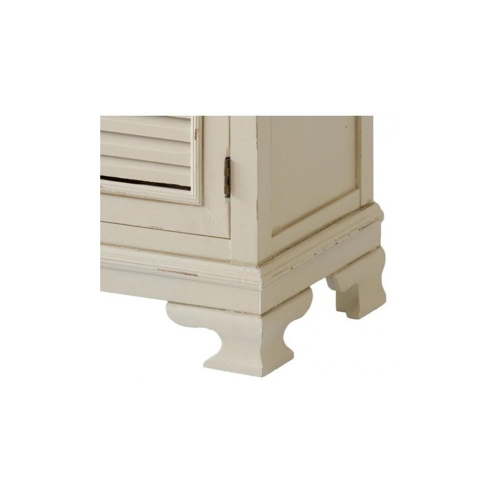 baltos spalvos TV staliukas, klasikinio stiliaus, rudu stalviršiumi