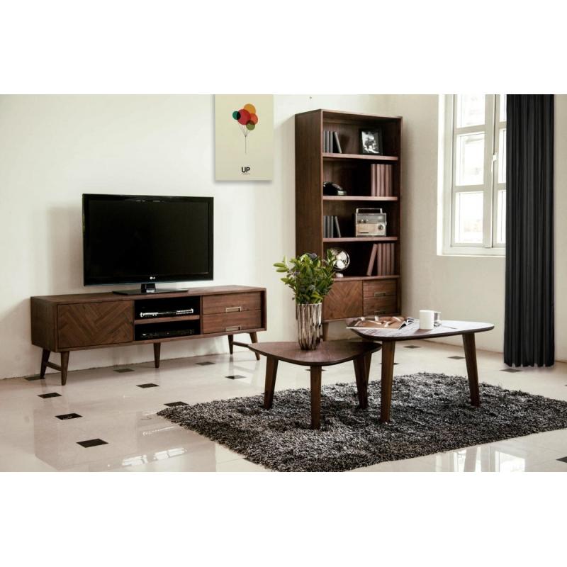 kokybiškas TV staliukas, natūralaus meždio, senovinio stiliaus