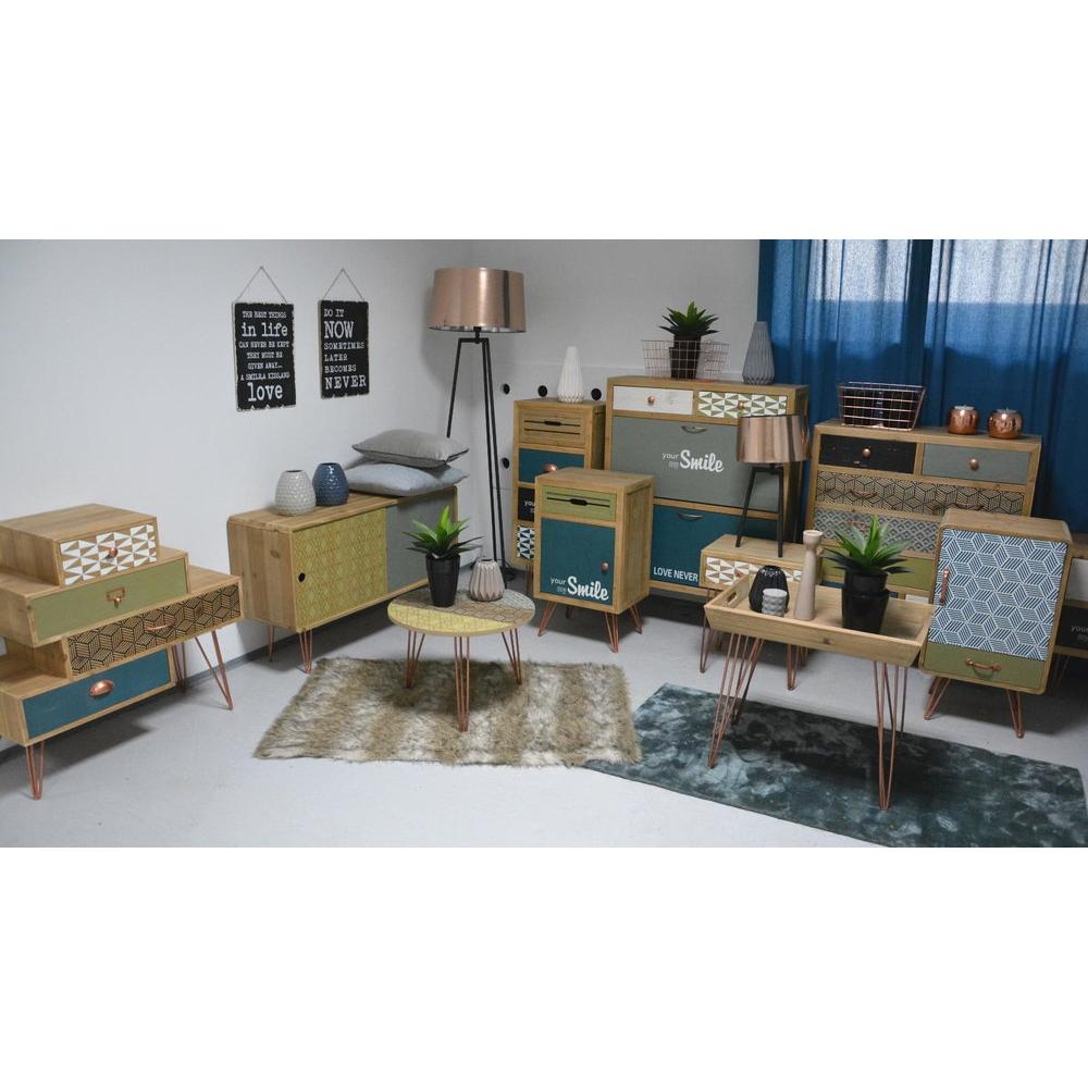 Naktinis staliukas prie lovos, rudos spalvos, amerikietiško stiliaus