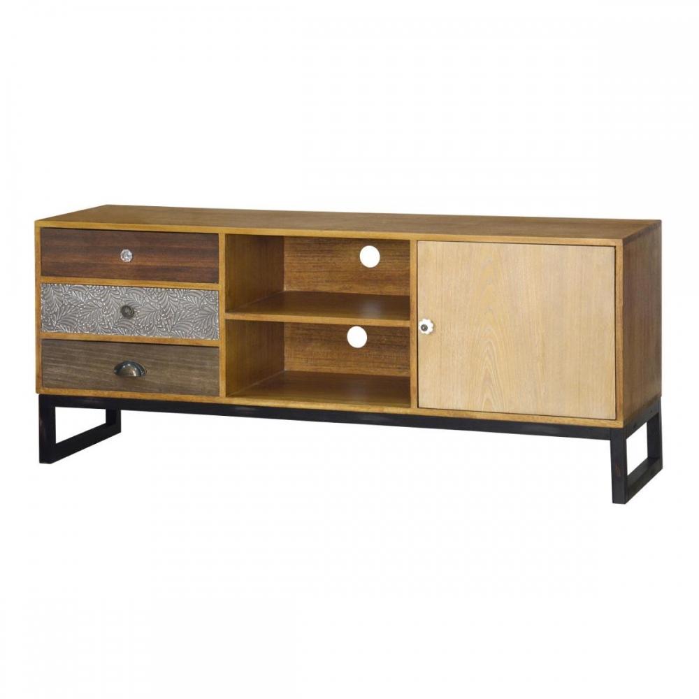 Retro stiliaus TV staliukas, metalinėmis kojomis, medinis
