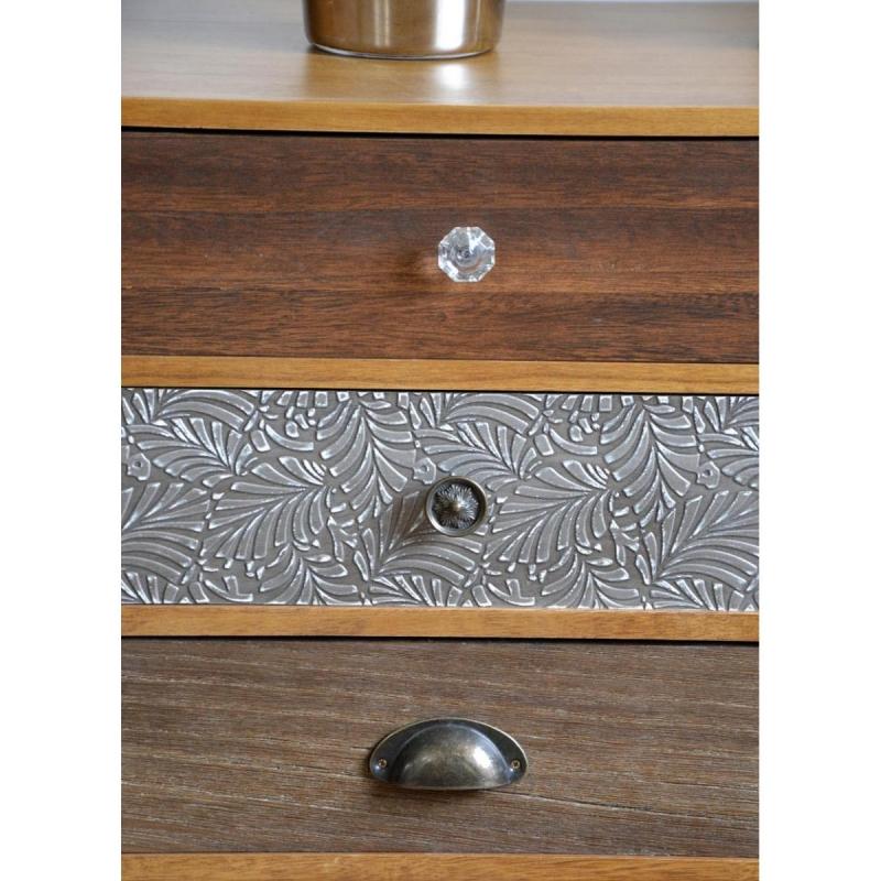 sendinto stiliaus TV staliukas, su stalčiais, rudu stalviršiu