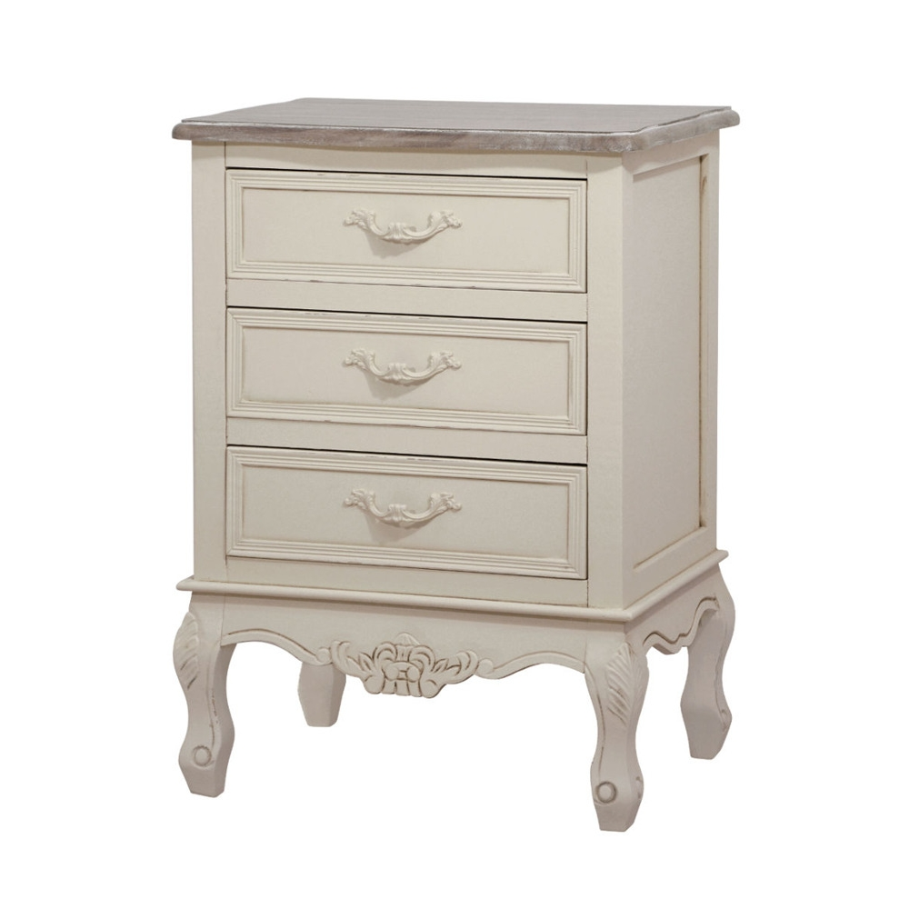 Provanso stiliaus naktinis staliukas, kreminės spalvos, sendinto dizaino