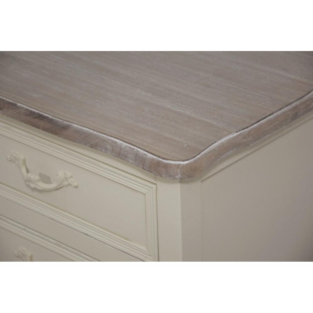 retro dizaino naktinis staliukas prie lovos, trijų stalčių, rudu stalviršiumi