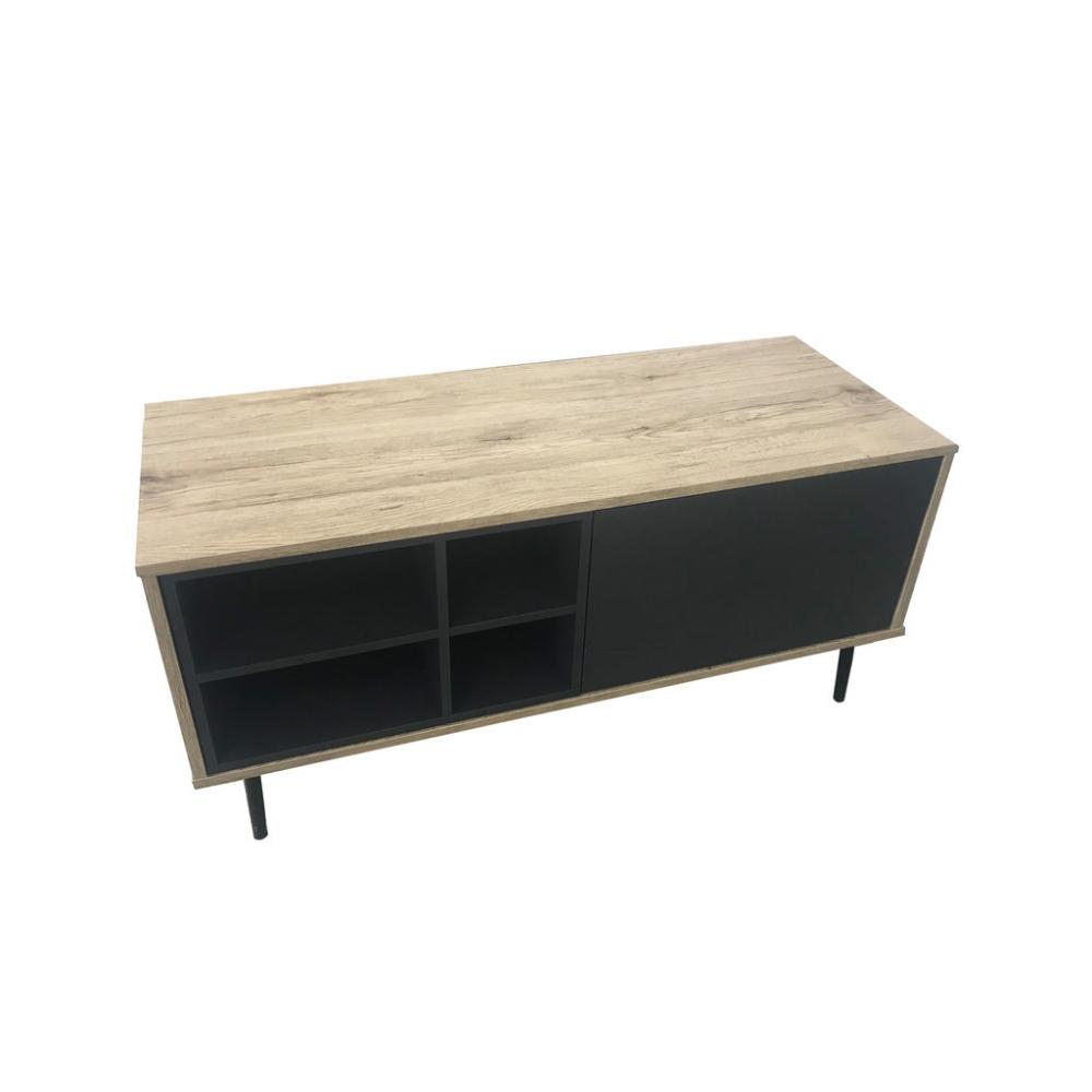 modernaus dizaino TV staliukas, juodomis durelėmis, medinis