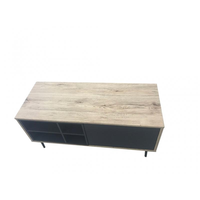 TV staliukas ant kojelių, su lentynom ir stalčiais, medžio spalvos