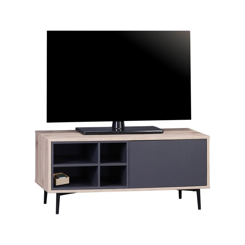 MAILBOX stiliaus TV staliukas, Skandinaviško stiliaus, juodais stalčiais