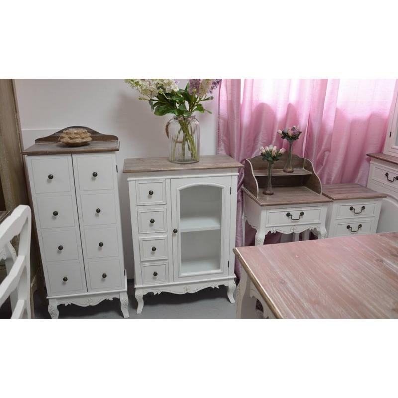 baltos spalvos Spintelė, su stalčiais, medinė