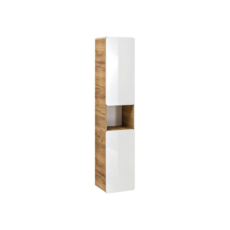 Modernaus dizaino pakabinama vonios spintelė, ąžuolo imitacijos, baltu blizgiu fasadu