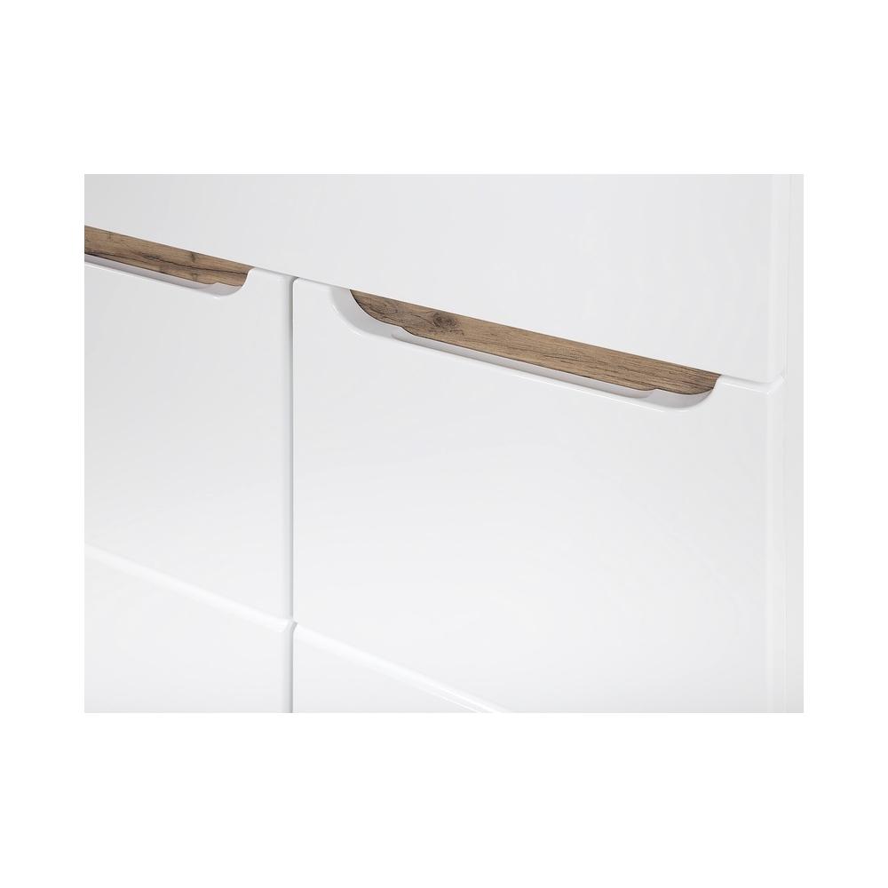 Minimalistinė vonios spintelė su praustuvu, medinė, blizgi